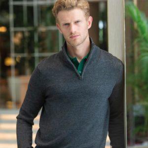 h729 zip neck sweater Cressco