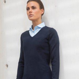 h761 ladies acrylic v neck sweater Cressco